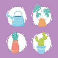 jardinage domestique, jeu d'icônes de plantes vecteur
