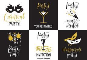 Cartes vectorielles d'invitations à la partie noire et or