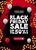 bannière de réduction verticale vendredi noir rouge et noir