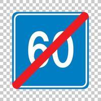Panneau de signalisation de limite de vitesse minimale bleue 60 isolé sur fond transparent