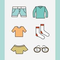jeu d'icônes simple de vêtements et accessoires unisexes vecteur