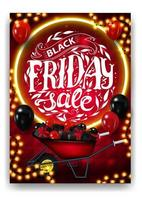 vente de vendredi noir, affiche de réduction verticale rouge