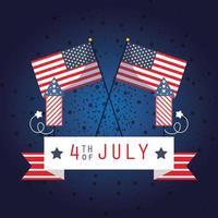 Bannière de célébration du 4 juillet avec feux d'artifice et drapeaux
