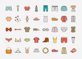jeu d'icônes simple de vêtements et accessoires unisexes