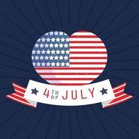 drapeau usa en forme de coeur avec ruban américain vecteur