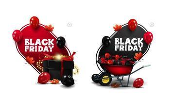 vente de vendredi noir, bannières de réduction rouges et noires vecteur