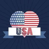 drapeau usa en forme de coeur avec ruban américain
