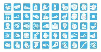 jeu d'icônes de prévention des coronavirus