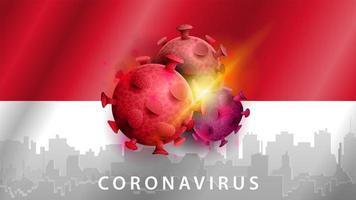 signe du coronavirus covid-2019 sur le drapeau indonésien vecteur