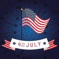 Bannière de célébration du 4 juillet avec feux d'artifice et drapeau vecteur