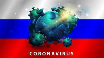 signe du coronavirus covid-2019 sur le drapeau de la russie