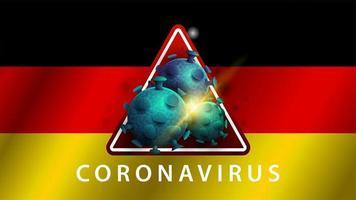 signe du coronavirus covid-2019 sur le drapeau allemand