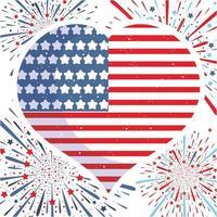 drapeau usa avec forme de coeur et feux d'artifice vecteur