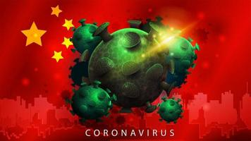 signe du coronavirus covid-2019 sur le drapeau chinois vecteur