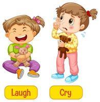 Adjectifs opposés mots avec rire et pleurer