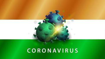 signe du coronavirus covid-2019 sur le drapeau de l'inde vecteur