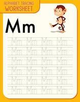 Feuille de calcul de traçage alphabet avec lettre m et m vecteur