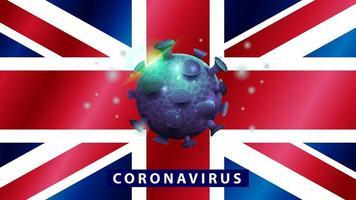 signe du coronavirus covid-2019 sur le drapeau de la Grande-Bretagne