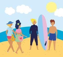 personnes à la plage faisant des activités estivales vecteur