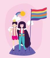personnages de dessins animés lgbtqi pour la célébration de la fierté vecteur
