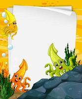 modèle de papier vierge avec de nombreux personnages de dessins animés de calamars dans la scène sous-marine