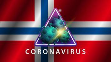 signe du coronavirus covid-2019 sur le drapeau norvégien