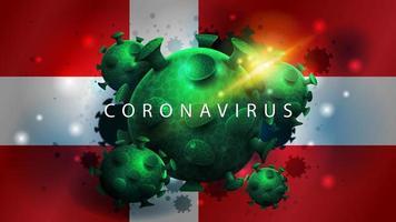 signe du coronavirus covid-2019 sur le drapeau du Danemark