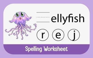 trouver une lettre manquante avec une méduse mignonne vecteur