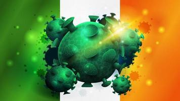 signe du coronavirus covid-2019 sur le drapeau de l'irlande