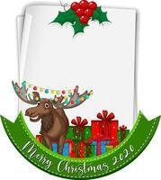 papier vierge avec logo de polices joyeux noël 2020 et renne vecteur