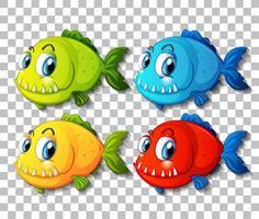 ensemble de personnage de dessin animé de poissons exotiques de couleur différente sur fond transparent