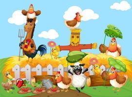 scène de ferme avec style de dessin animé de ferme animale