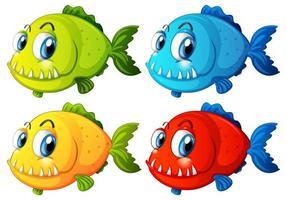 Ensemble de personnage de dessin animé de poissons exotiques de couleur différente sur fond blanc