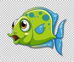 personnage de dessin animé de poisson exotique vert sur fond transparent vecteur