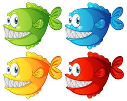 Ensemble de personnage de dessin animé de poissons exotiques de couleur différente sur fond blanc vecteur