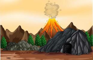 fond de scène extérieure éruption volcanique
