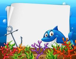 modèle de papier vierge avec un personnage de dessin animé de requin dans la scène sous-marine vecteur