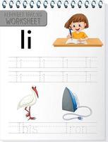 feuille de calcul de traçage alphabet avec lettre et vocabulaire