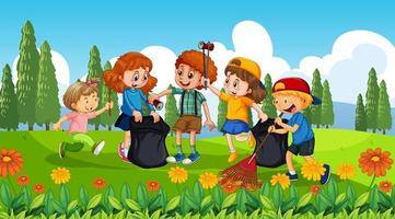 bons enfants ramassant des ordures vecteur