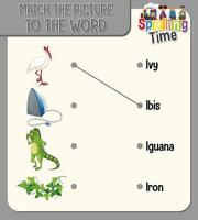faire correspondre l'image à la feuille de calcul de mots pour les enfants