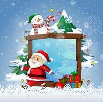 Cadre en bois vierge avec le père Noël et bonhomme de neige mignon sur fond blanc vecteur