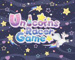 logo ou bannière du jeu de course de licornes vecteur