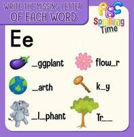 remplir la lettre manquante de chaque feuille de calcul de mot pour les enfants