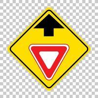 panneau d'avertissement de trafic jaune sur fond blanc