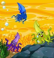 de nombreux personnages de dessins animés de calamars différents dans le fond sous-marin vecteur