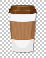 une tasse de café en papier isolé sur fond transparent
