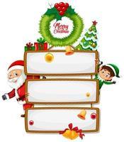 Panneau en bois vierge avec logo de polices joyeux Noël avec personnage de dessin animé de Noël sur fond blanc