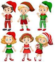 ensemble de différents enfants portant des costumes de noël