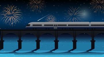 train traverser la rivière avec scène de feux d'artifice de célébration vecteur