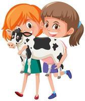 Deux filles tenant un personnage de dessin animé animal mignon isolé sur fond blanc